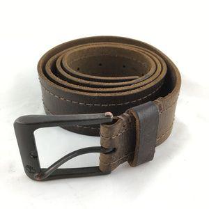 Genuine leather belt brown square metal buckle 40